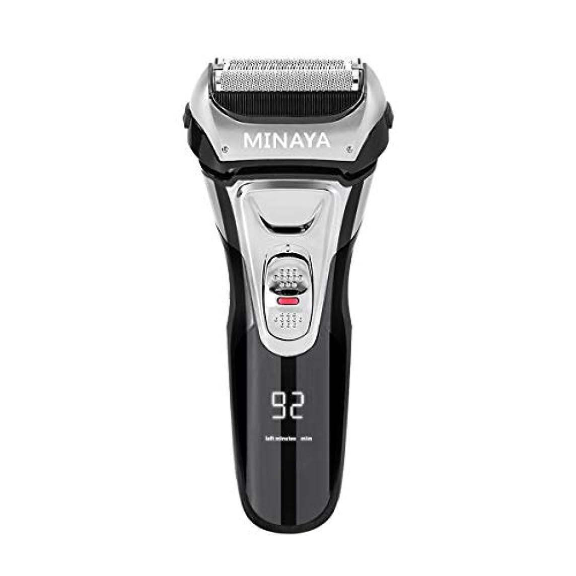 円形母卵電気シェーバー メンズ シェーバー 往復式 3枚刃 髭剃り 電動 カミソリ LEDディスプレイ USB充電式 IPX7防水 水洗い/お風呂剃り対応