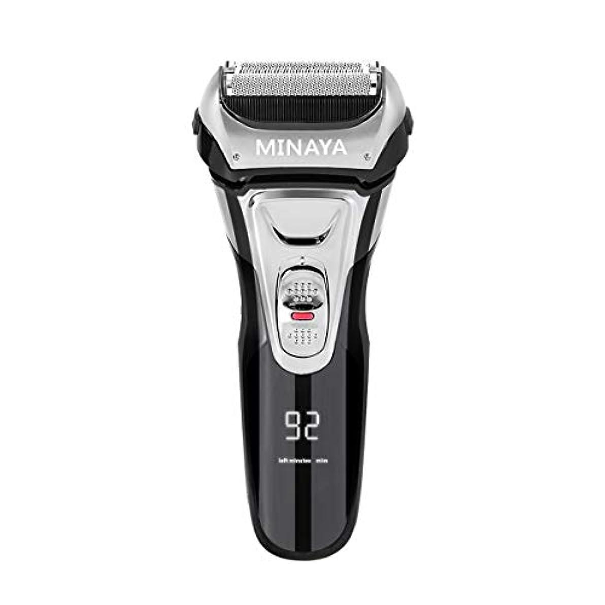 参照する民主党配送電気シェーバー メンズ シェーバー 往復式 3枚刃 髭剃り 電動 カミソリ LEDディスプレイ USB充電式 IPX7防水 水洗い/お風呂剃り対応