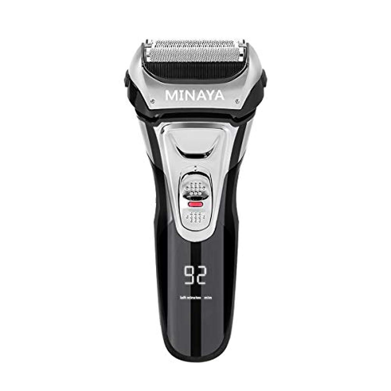 歴史経済軍電気シェーバー メンズ シェーバー 往復式 3枚刃 髭剃り 電動 カミソリ LEDディスプレイ USB充電式 IPX7防水 水洗い/お風呂剃り対応