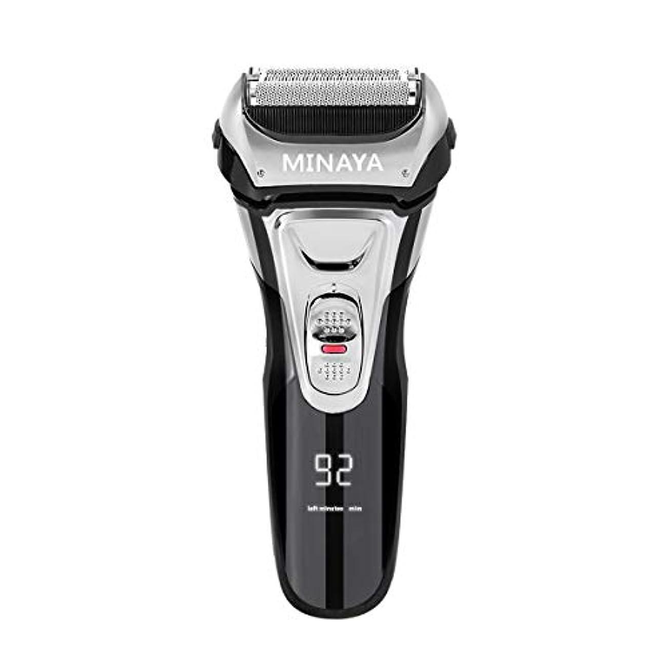 パール落とし穴平凡電気シェーバー メンズ シェーバー 往復式 3枚刃 髭剃り 電動 カミソリ LEDディスプレイ USB充電式 IPX7防水 水洗い/お風呂剃り対応