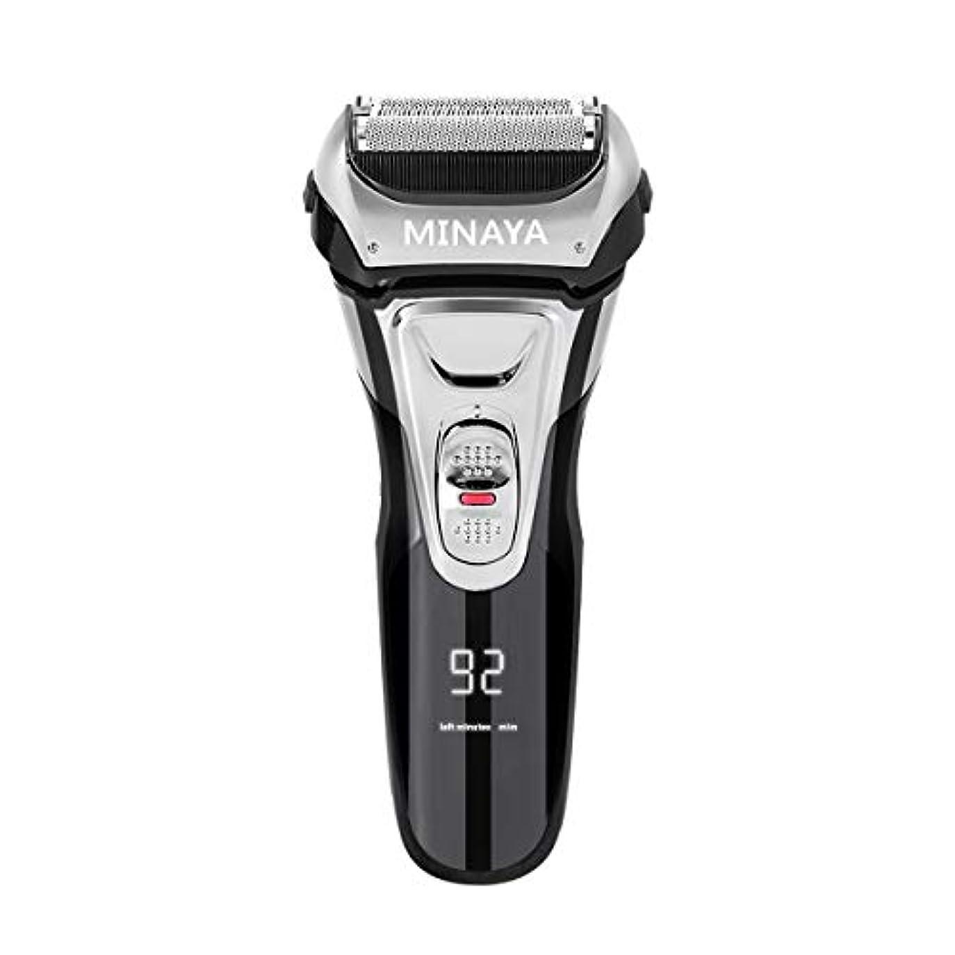 拒絶する膨らませるずるい電気シェーバー メンズ シェーバー 往復式 3枚刃 髭剃り 電動 カミソリ LEDディスプレイ USB充電式 IPX7防水 水洗い/お風呂剃り対応