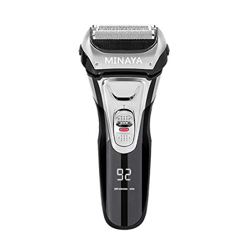 電気シェーバー メンズ シェーバー 往復式 3枚刃 髭剃り 電動 カミソリ LEDディスプレイ USB充電式 IPX7防水 水洗い/お風呂剃り対応