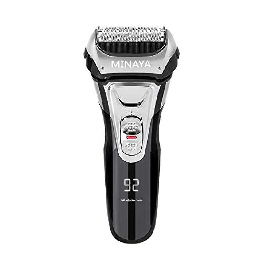 抵抗力がある覚醒膨らませる電気シェーバー メンズ シェーバー 往復式 3枚刃 髭剃り 電動 カミソリ LEDディスプレイ USB充電式 IPX7防水 水洗い/お風呂剃り対応