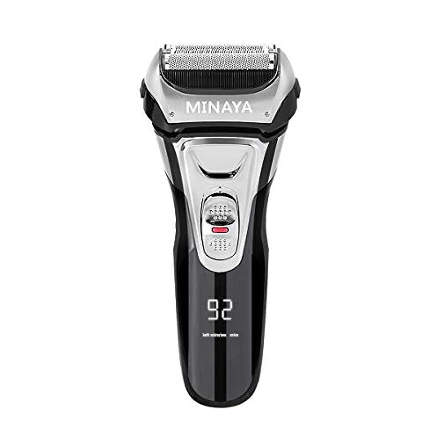 クリエイティブコントラスト肌寒い電気シェーバー メンズ シェーバー 往復式 3枚刃 髭剃り 電動 カミソリ LEDディスプレイ USB充電式 IPX7防水 水洗い/お風呂剃り対応