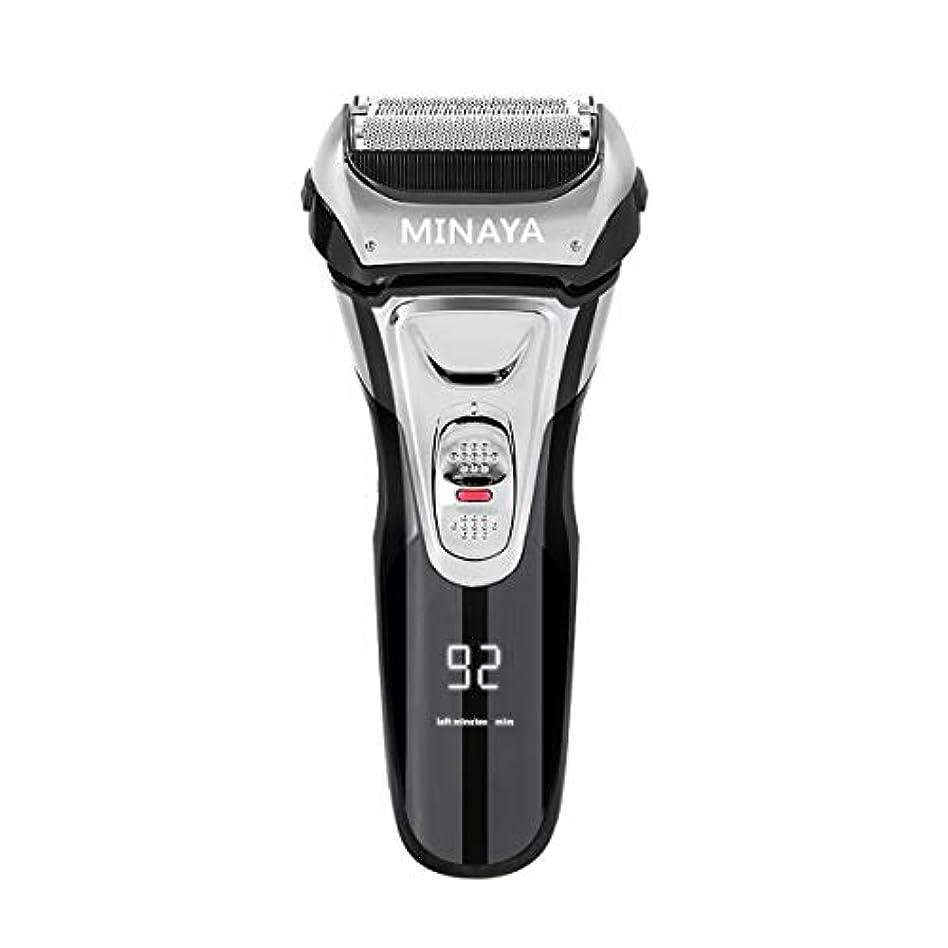 流す同行不定電気シェーバー メンズ シェーバー 往復式 3枚刃 髭剃り 電動 カミソリ LEDディスプレイ USB充電式 IPX7防水 水洗い/お風呂剃り対応