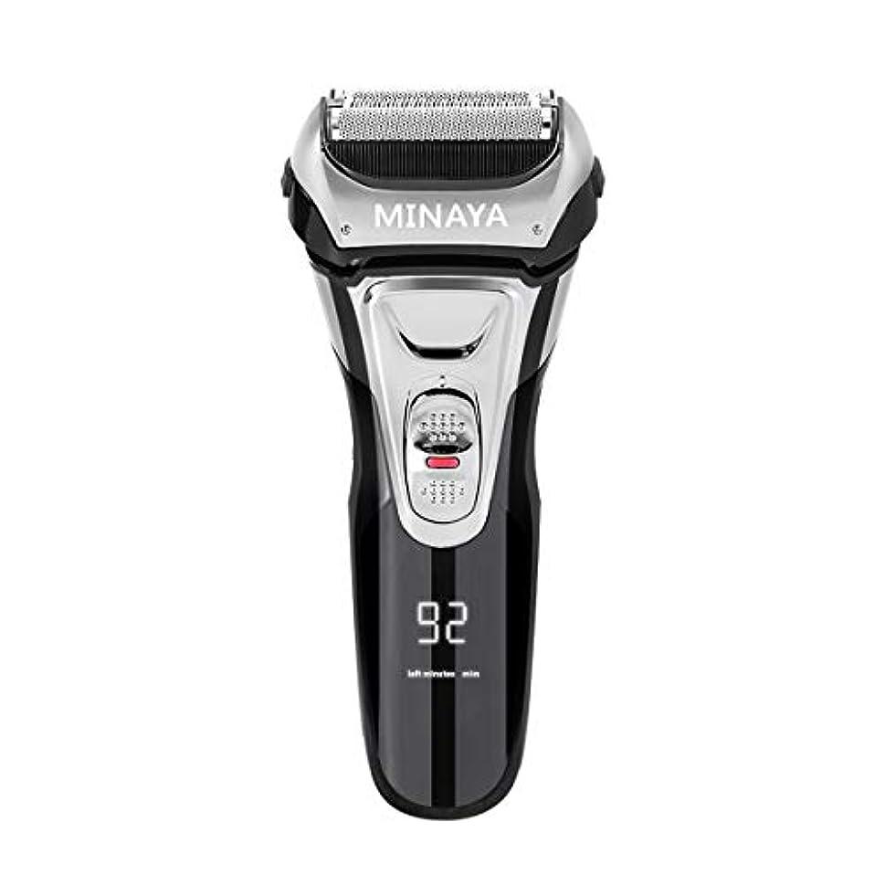 責める民間人夕暮れ電気シェーバー メンズ シェーバー 往復式 3枚刃 髭剃り 電動 カミソリ LEDディスプレイ USB充電式 IPX7防水 水洗い/お風呂剃り対応