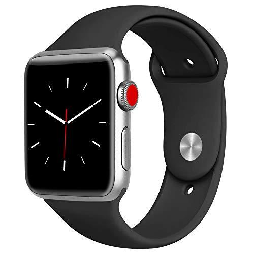 ATUP コンパチブル Apple Watch バンド 42mm 38mm 44mm 40mm、プレミアムソフトシリコン交換リストバンドiWatch Series4/3/2/1に対応、iWatchは含まれていません (42/44 M/L, 黒)