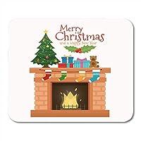マウスパッドホワイト12月緑お祝いクリスマス暖炉付きソックスとツリーフラットスタイル赤い椅子イブニングマウスマットマウスパッドマウスパッドノートブックデスクトップコンピューターに適しています