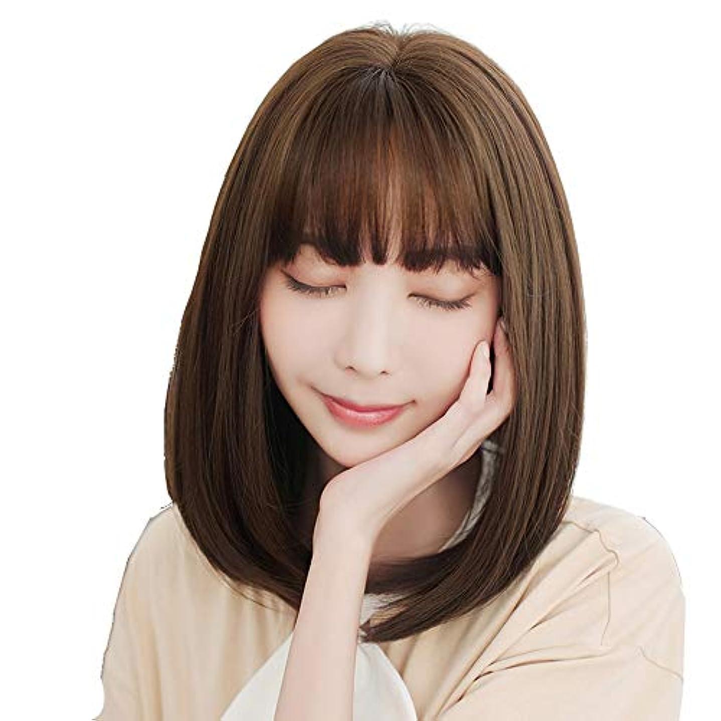 不一致装置残酷SRY-Wigファッション ファッションショートボブストレートブラウンウィッグ女性用合成フルヘアナチュラルウィッグ前髪コスプレコスチューム
