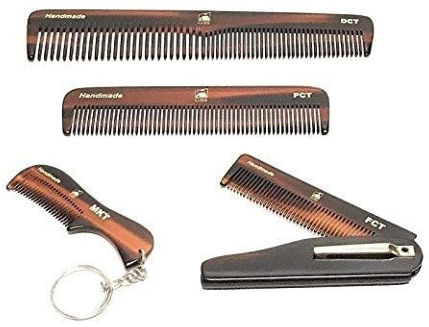 GBS Handmade Styling Anti-Static No Snag Saw-cut Teeth Grooming Hair and Beard Comb Set - For Mens Care - Dressing...