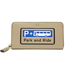 【Anya Hindmarch】アニヤハインドマーチ 小銭入れ付 ラウンドファスナー 長財布 『PARK AND RIDE』 [LARGE ZIP ROUND WALLET PARK AND RIDE/LIGHT GREY] [並行輸入品]