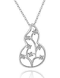 lureme ファッションスタイルの花のペンダントネックレスシルバーメッキひょうたん(01003680)