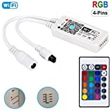 HaoDeng WiFi Wireless LED Smart Controller, Compatible with Alexa&Google Assistant&IFTTT, Working with Android, iOS System and RGB LED Strip Lights, Comes with 24 Keys Remote Control