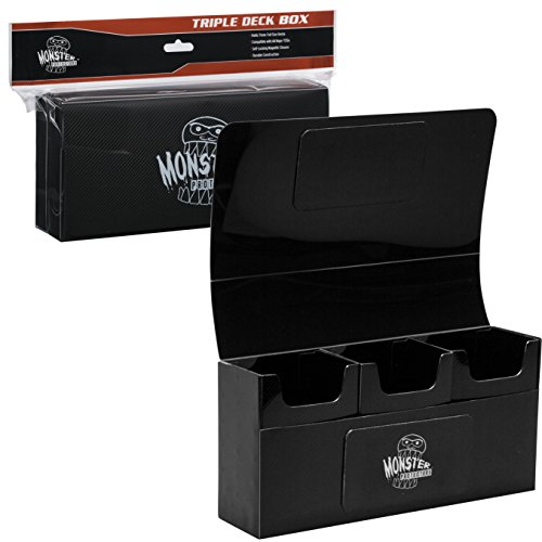 Deck Box- Magnetic Triple Deck Box (Black) by Monster Protectors- Fits Mtg Magic, Yugioh, and Pokemon