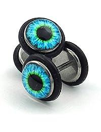 SHENRAN Mens Stainless Steel Evil Eye Stud Earrings, Blue Black (Blue)