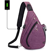 Sling Backpack Chest Shoulder Bag Vodabang Casual Crossbody Shoulder Triangle Packs Daypacks for Men Women Canvas Digital Camera Bags with Charging Port for Sport Outdoor Gym Travel Hiking