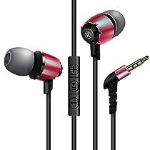 AIKAQI 高音質 インナーイヤー型イヤホン マイク付き ボリュームコントロール可能 音楽再生 重低音 ステレオインサイドホン 密閉型 カナル型 ヘッドホン S600i plus レッド