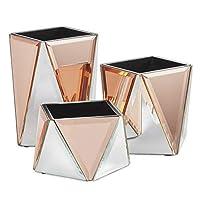 3ミラーポットの美化セット - シルバー&ローズゴールド - 幾何学模様 - 収納/オーガナイザー/テーブルトップ片付け