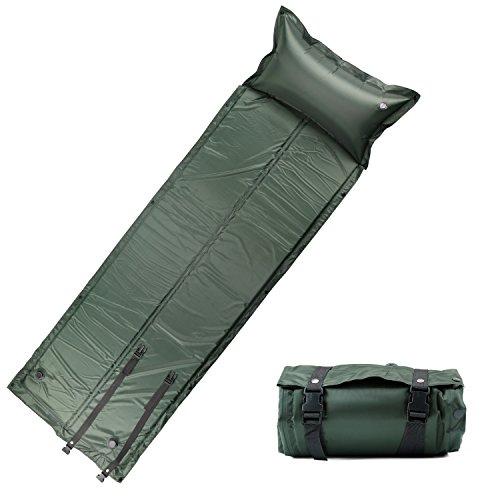 FSDUALWIN 自動膨張式 エアーマット キャンピングマット キャンプマット エアピロー付き 防水 コンパクト 連結可能 収納 車中泊 高反発3cm 寝具 テント 186cm/200cm (緑, 186cm)