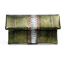Genuine Metallic Olive Green Python Leather Classic Foldover Clutch Bag