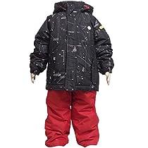 ボーイズキッズ[ONYONE(オンヨネ)Reseeda(レセーダ)]ギャラクシー(銀河系)柄|サイズ調整機能付スキーウェア|スキーウエア上下セット|男の子|男児|子供用 100cm ブラック-レッド