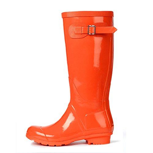 (Wansi) レディース ロング レイン ブーツ シューズ レインブーツ 雨靴 長靴 長ぐつ 梅雨対策 滑り止め レインシューズ レイングッズ ビジネス アウトドア おしゃれ 雨靴 オレンジ 24.5cm
