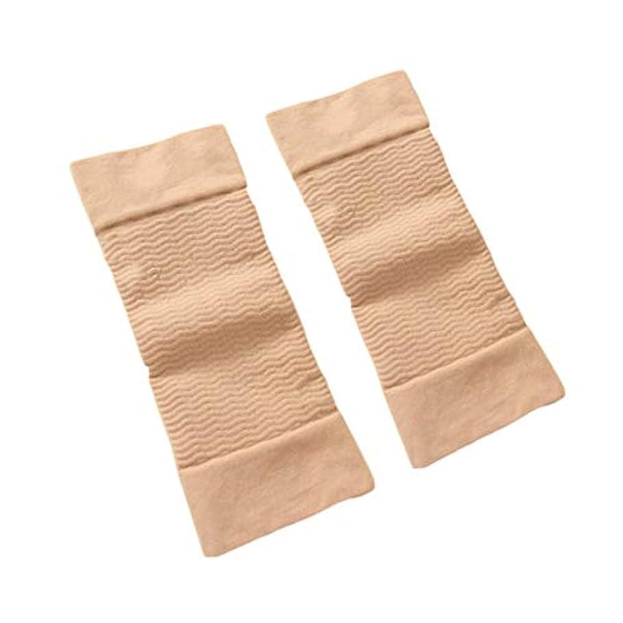 糸腕砂1ペア420 D圧縮痩身アームスリーブワークアウトトーニングバーンセルライトシェイパー脂肪燃焼袖用女性 - 肌色