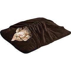 ottostyle.jp ペット用 あったか 寝袋 クッション 【ブラウン】 Sサイズ(幅55cmx奥行き40cm) 小型犬 猫用 ペットベッド マイクロファイバー フランネル