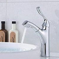 豪華な 浴室の流しの容器の蛇口の洗面器のミキサーのタップの洗面器のコック現代真鍮のクロムプルアウトの流しの蛇口、銀、A 実用的