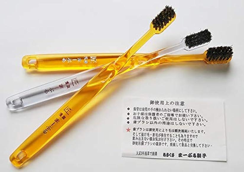 危険な嵐印刷する浅草まーぶる刷子 匠 馬毛歯ブラシ お試し3本セット (普通2?柔らか1)