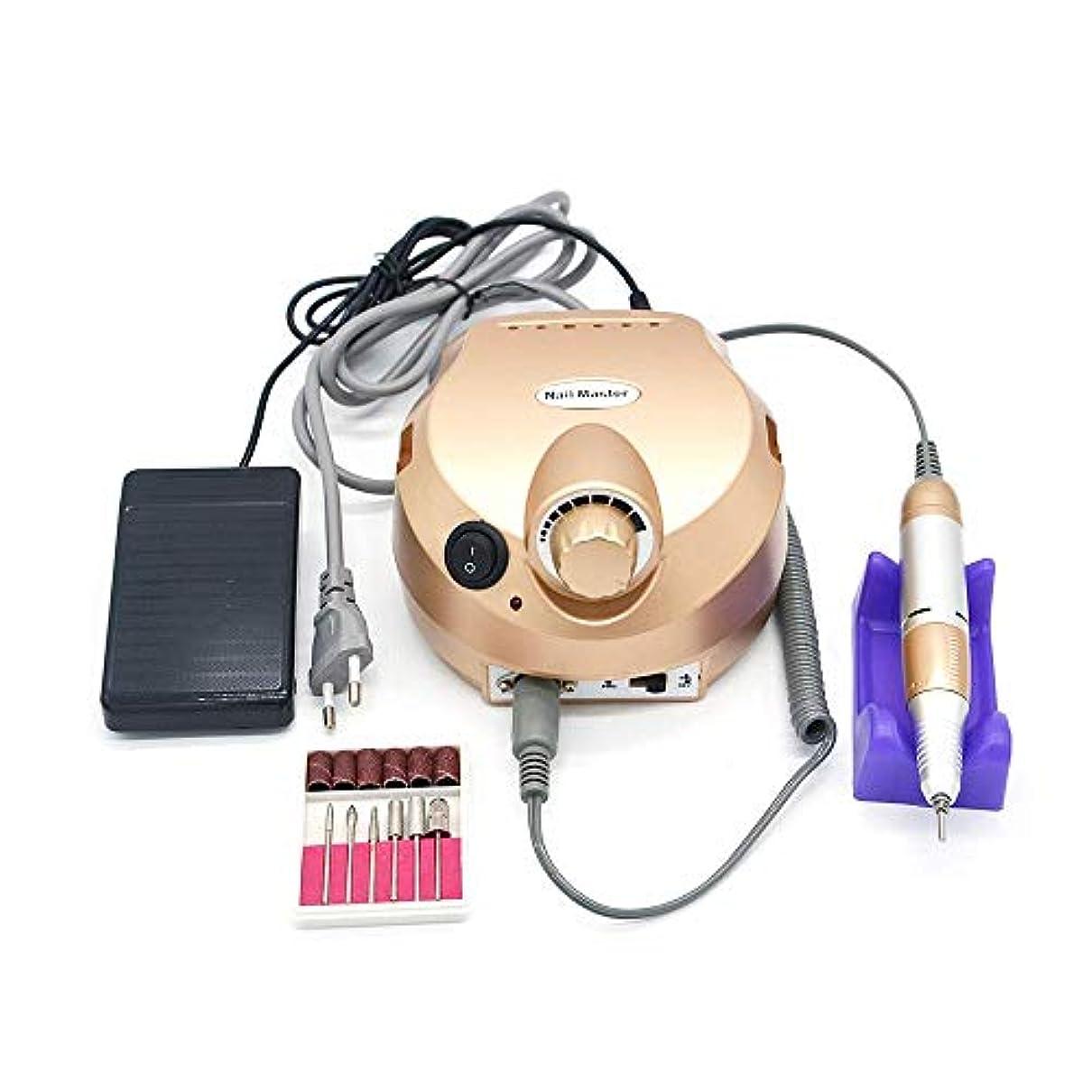 カーテン口葉っぱ35000 rpmゴールドプロフェッショナル電気ネイルアートドリルファイルペディキュア機器マニキュアマシンキットネイルアートツール用ネイルジェル