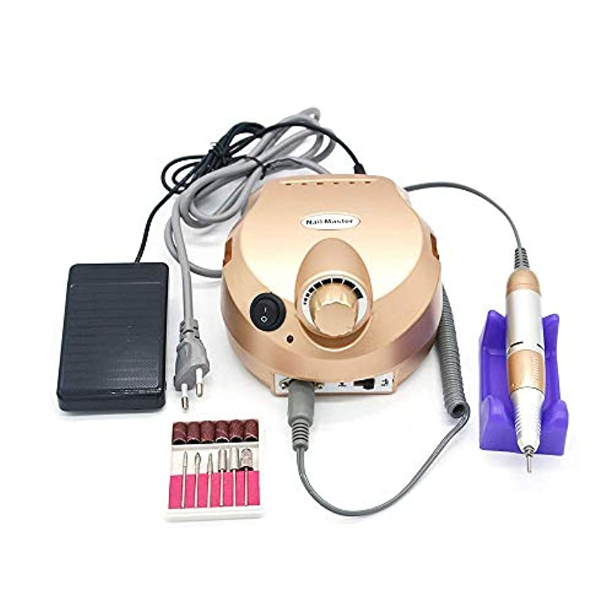 子供っぽい安らぎ労苦35000 rpmゴールドプロフェッショナル電気ネイルアートドリルファイルペディキュア機器マニキュアマシンキットネイルアートツール用ネイルジェル