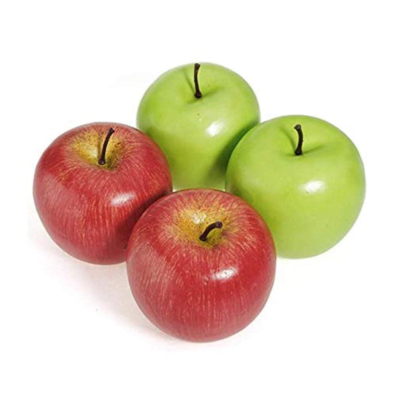 一次スカルク簿記係人工の偽の食品野菜のおもちゃ4人工の大きな赤いApplesss装飾的なフルーツのホームパーティーの装飾プラスチック(赤+緑)