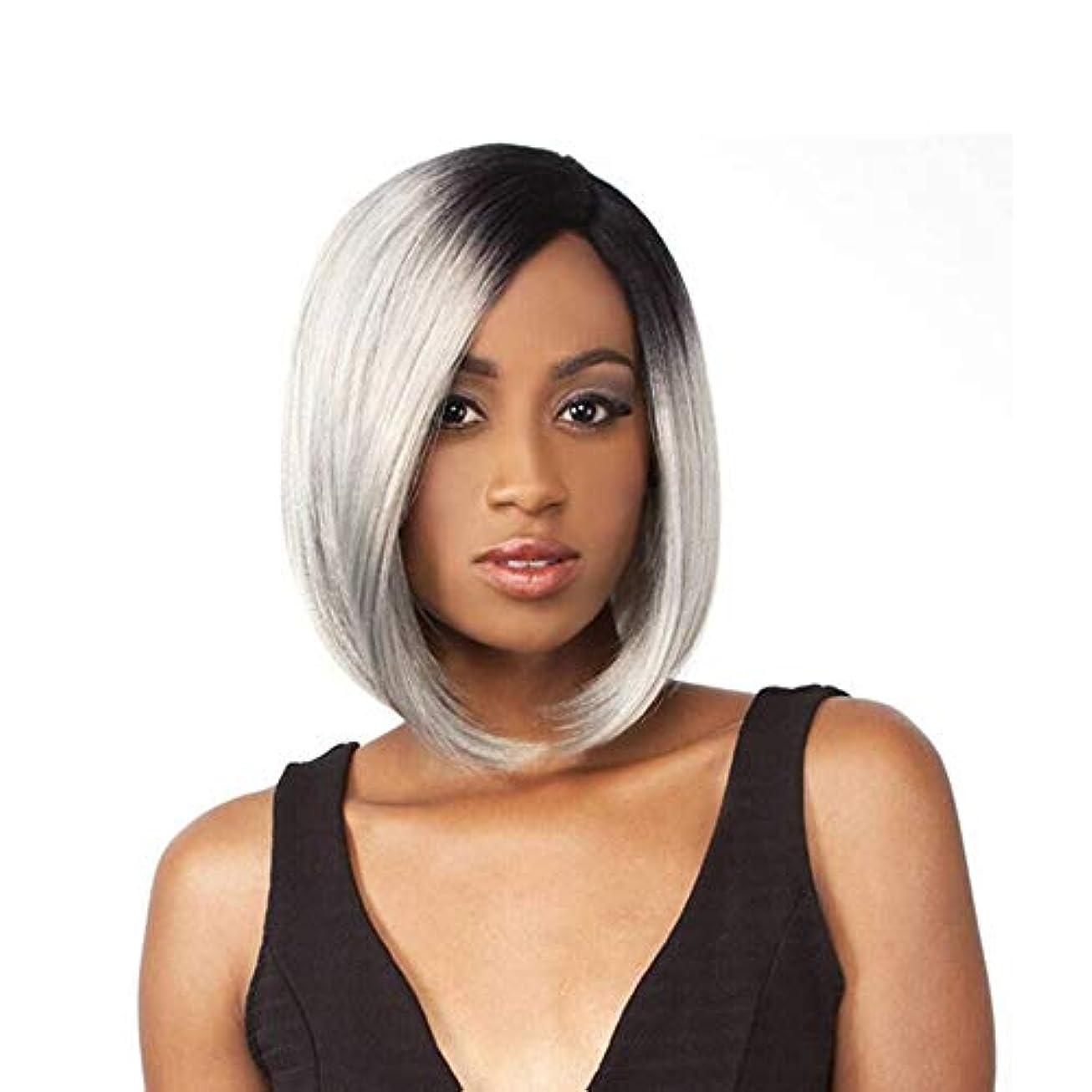 別れるアトラス無意識WASAIO 黒人女性の人間の髪のための無料キャップ高品質コスプレウィッグとの深いウェーブウィッグショートストレートウィッグシルバーグレー (色 : グレー)