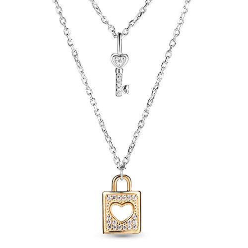 Sweetiee シルバー925 二層 AAAジルコン&鍵&錠 キー ロック プラチナ&ゴールド ペンダント ネックレス 純銀 ジュエリー レディース