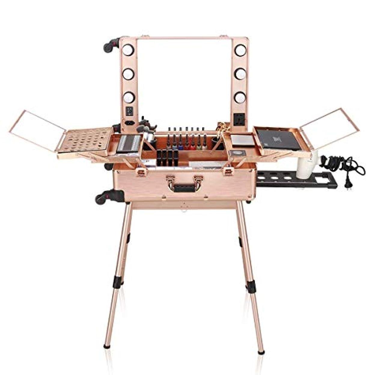 Ovonni 主導化粧列車 場合はミラー&4つ 取り外し可能な車輪 プロ アーティストトロリースタジオ自立ワークステーションでローリング旅行ポータブル化粧品オーガナイザーボックスを点灯します ローズゴールド