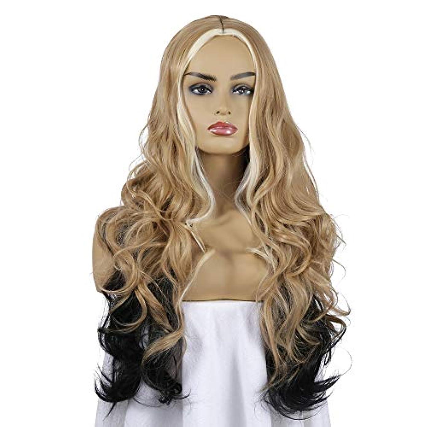 女性用ブロンドロングカーリーウェーブヘアウィッグ26インチチャーミング人工毛交換ウィッグミドルパーティングハロウィンコスプレ衣装アニメパーティーウィッグ、ミックスカラー