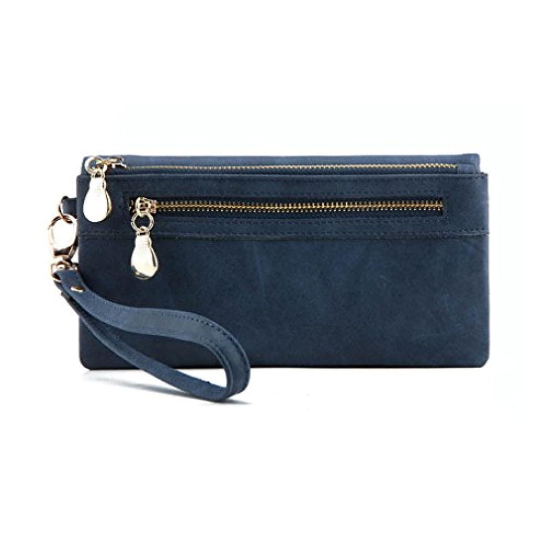 BEE&BLUE 財布 レディース 長財布 PUレザー 多機能 大容量 カード入れ付き手帳型オイル仕上げ (インクブルー)