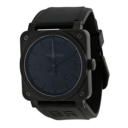 ベル&ロスファントム自動ブラックダイヤルブラックゴムメンズ時計br0392-phantom-ce
