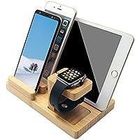 Apple Watchスタンド、ブルー穴竹木製デスクトップ充電ドックステーションTilting電話スタンドIphoneとiWatch
