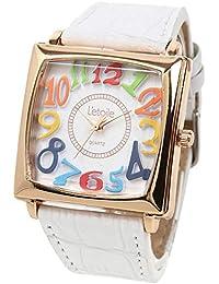 腕時計 レディース 防水 カラフル カジュアル 革ベルト スクエア ウォッチ DNS14 ホワイト