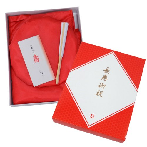 還暦(60歳)お祝い 赤い祝着/赤いちゃんちゃんこ 3点セット 化粧箱入
