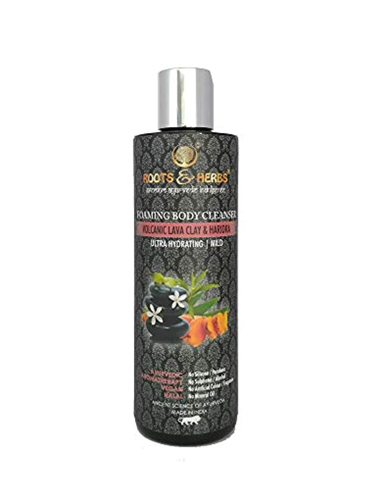 熱望するテメリティ主導権Roots & Herbs Ayurvedic Natural Treatment 100% Vegan No Paraben Foaming Body Cleanser (Volcanic Lava Clay & Haridra)
