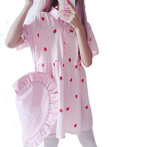 YiTong レディース ワンピース 夏 半袖 少女 スカート ピンク ゆったり 可愛い イチゴ 無地 ドレス 通気 薄手 原宿風 シンプル 綺麗 Aライン 花柄 森ガール 着痩せピンク