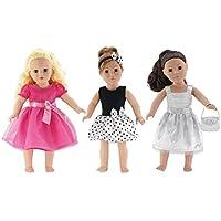 18インチ人形Clothes |値bundle- Set of 3人形ドレス、Includingピンクドレスwith Jeweled Bow、ブラックandホワイトPolka Dotドレスwithヘッドバンド、シルバーのドレスwith Purse | FitsアメリカンガールDolls