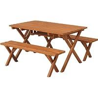 不二貿易 ガーデン 杉材 バーベキューテーブル&ベンチセット コンロスペース付き ナチュラル 81761