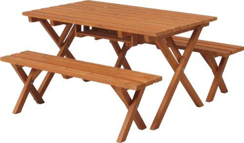 不二貿易:ガーデン 杉材バーベキューテーブル&ベンチセット コンロスペース付き ナチュラル