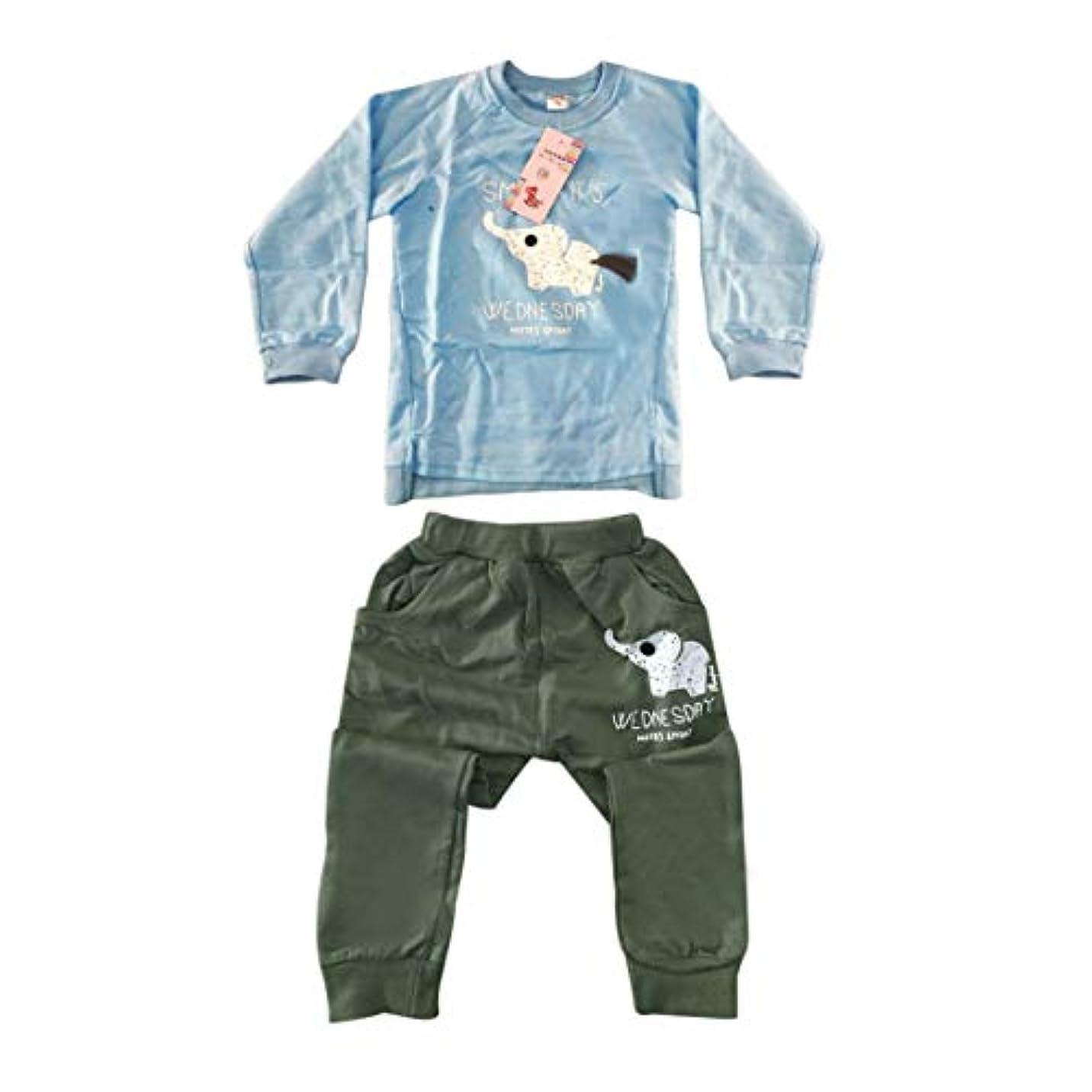 ミント八百屋さん非難2ピース長袖スウェットシャツ+素敵な象プリント幼児の男の子の女の子ソフトスポーツプレイスーツと弾性パンツスーツ-ライトブルー100 CM