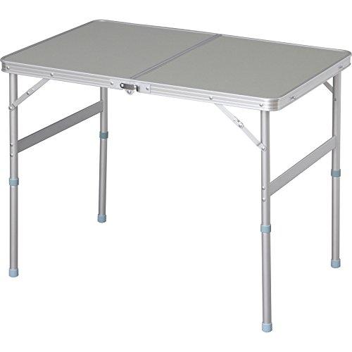 テーブル アウトドア 幅90×奥行60×高さ70~39cm ライトグレー