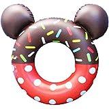 【Big Hashi 】可愛い ドーナツフロート 子供用60cm. 便利に携帯 海水浴 プール レッド(ttq-h07)